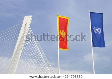Flags of Montenegro and United Nations in Podgorica - stock photo