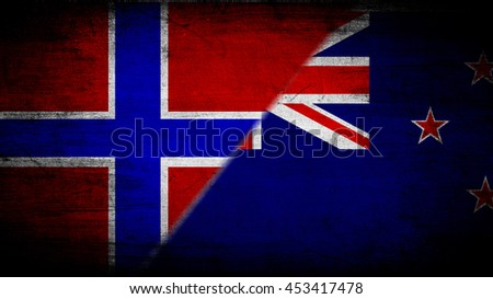 Flags of Norway and New Zealand divided diagonally