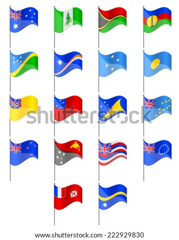 flags of Oceania countries illustration isolated on white background - stock photo