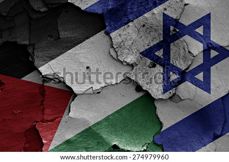 flags of Palestine  and Israel painted on cracked wall - stock photo