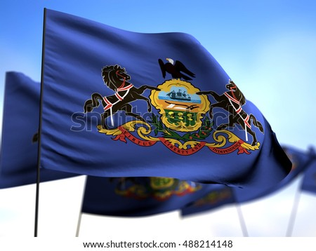 flags of Pennsylvania on blue sky background