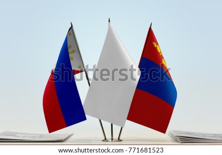 Flags of Philippines and Mongolia with a white flag in the middle