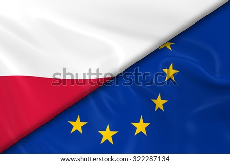 Flags of Poland and the European Union Divided Diagonally - 3D Render of the Polish Flag and EU Flag with Silky Texture - stock photo