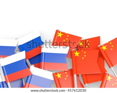 Flags of Russia and China  isolated on white. 3D illustration