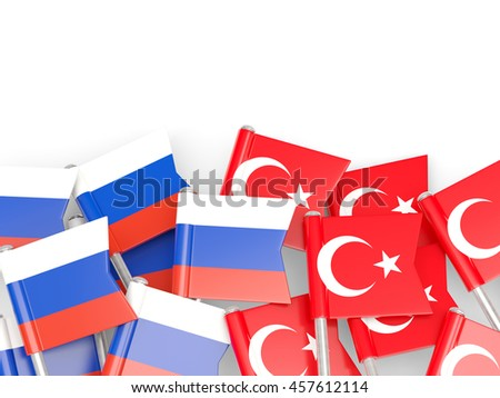 Flags of Russia and Turkey   isolated on white. 3D illustration