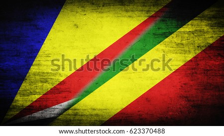 Flags of Seychelles and Congo divided diagonally