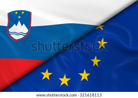 Flags of Slovenia and the European Union Divided Diagonally - 3D Render of the Slovenian Flag and EU Flag with Silky Texture