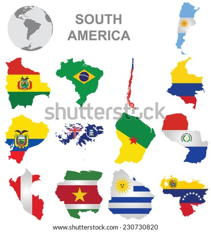 Flags of South America collection overlaid on outline map isolated on white background  - stock photo