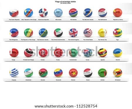 Flags of sovereign states projected as spheres on a white background. All UN member states. Part of a series. See portfolio for other flag series. - stock photo