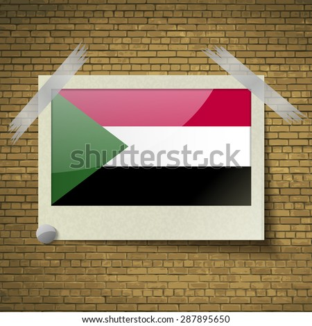 Flags of Sudan at frame on a brick background.  illustration. Rastrized version - stock photo