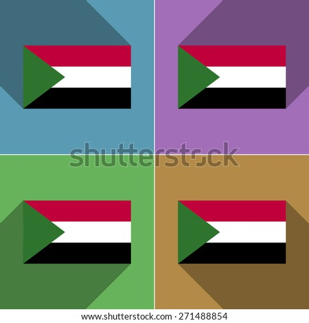 Flags of Sudan. Set of colors flat design and long shadows.  illustration - stock photo