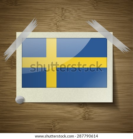 Flags of Sweden at frame on wooden texture.  illustration. Rastrized version - stock photo