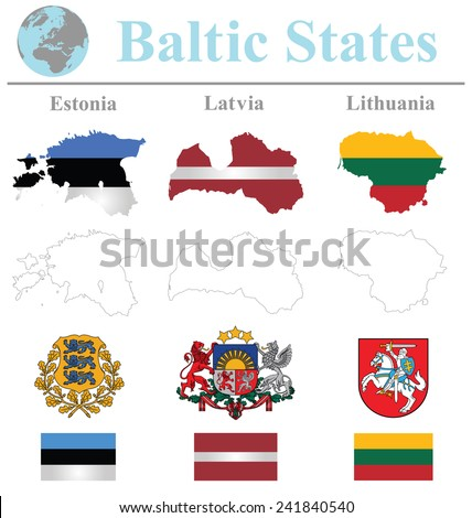Flags of the Baltic States collection overlaid on outline map isolated on white background  - stock photo