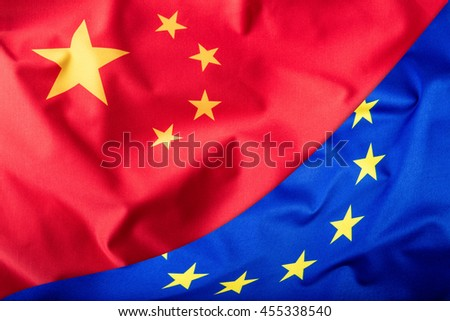 Flags of the China and the European Union. China Flag and EU Flag. Flag inside stars. World flag concept. - stock photo