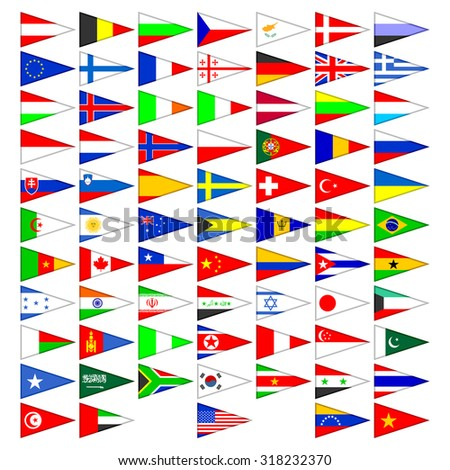 Flags of the countries of the world. A set of the isolated icons on a white background. - stock photo
