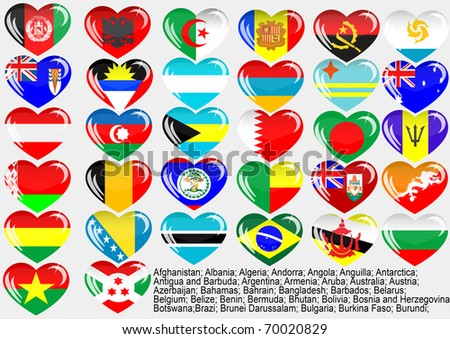 Flags of the countries of the world  Andorra; Angola; Anguilla; Antarctica; Antigua and Barbuda; Argentina; Armenia; Aruba; Australia; Austria; Azerbaijan; Bahamas; Bahrain; Bangladesh;