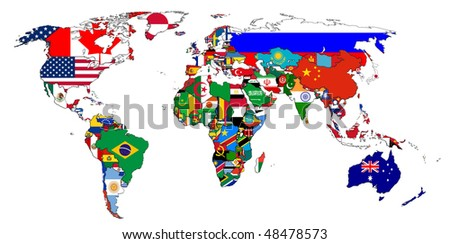 Flags of the countries on the world map