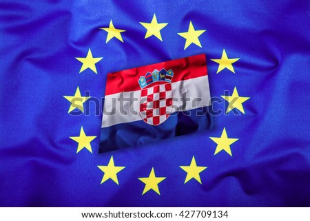 Flags of the Croatia and the European Union. Croatia Flag and EU Flag.Flag. Flag inside stars. World flag money concept. - stock photo