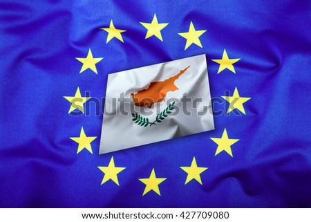 Flags of the Cyprus and the European Union. Cyprus Flag and EU Flag. Flag inside stars. World flag money concept. - stock photo