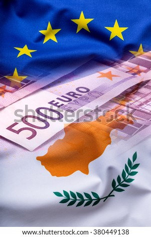Flags of the Cyprus and the European Union. Cyprus Flag and EU Flag. World flag money concept. - stock photo
