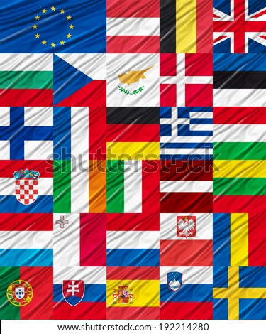 Flags of the European Union - stock photo