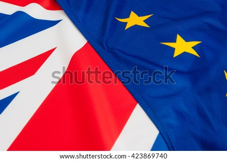 Flags of the European Union and United Kingdom - stock photo