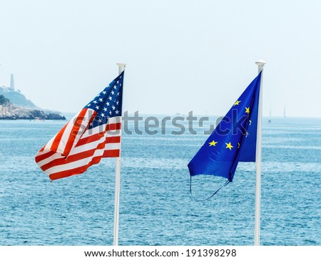 flags of the european union, france and the usa, symbolic photo for, diplomacy, foreign policy - stock photo