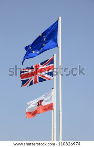 Flags of the European Union, United Kingdom and Gibraltar - stock photo
