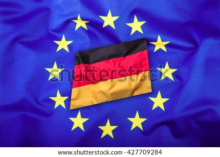 Flags of the Germany and the European Union. Germany Flag and EU Flag. Flag inside stars. World flag concept. - stock photo