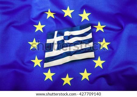 Flags of the Greece and the European Union. Greece Flag and EU Flag. Flag inside stars. World flag concept. - stock photo