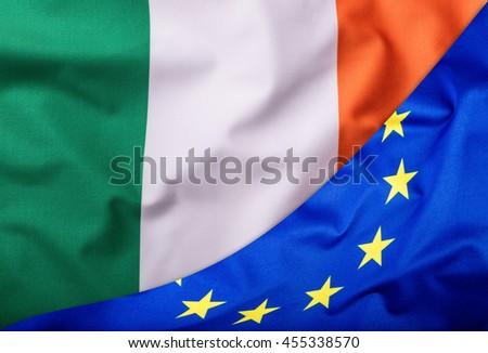 Flags of the Ireland and the European Union. Ireland Flag and EU Flag. World flag money concept - stock photo