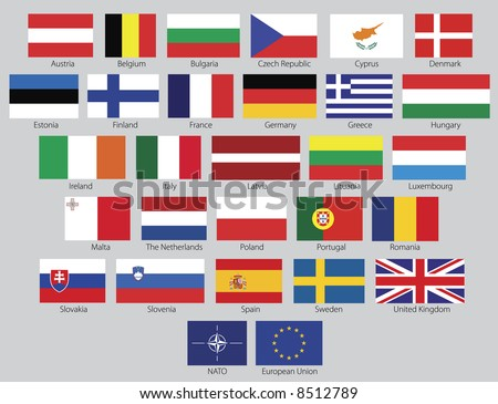 Flags of the 27 members of the European Union as of 2008 plus the symbol of NATO and the European Union in real official proportions, named. Rasterized vector graphic.