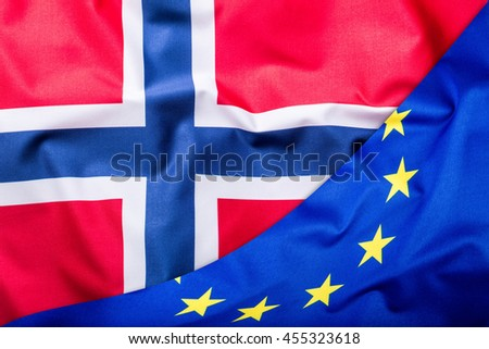 Flags of the Norway and the European Union. Norway Flag and EU Flag. World flag money concept. - stock photo