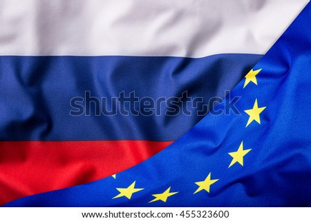 Flags of the Russia and the European Union. Russia Flag and EU Flag. World flag money concept.