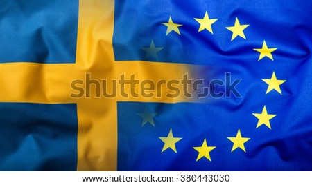Flags of the Sweden and the European Union. Sweden Flag and EU Flag. World flag money concept. - stock photo