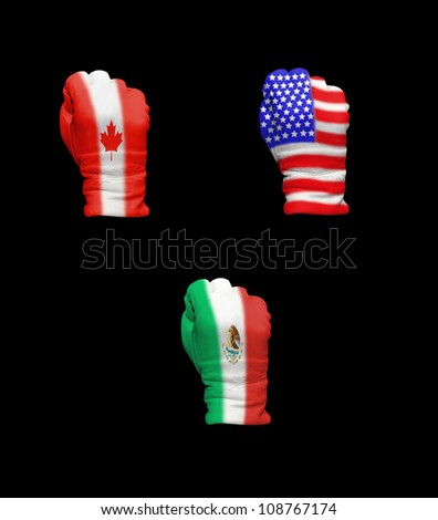 Flags of the three North American countries - stock photo