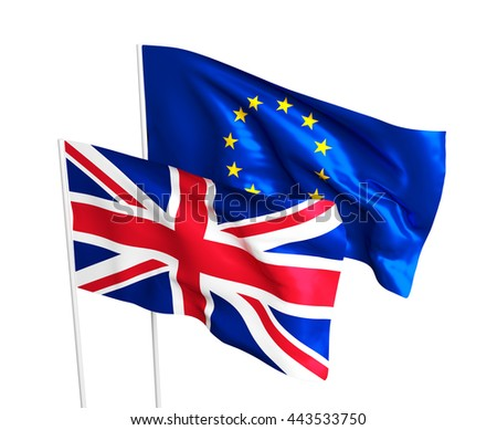 Flags of the United Kingdom and the European Union. Brexit referendum. British leaves EU. Flag isolated on the white background.