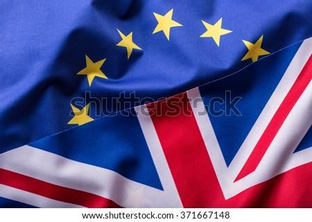 Flags of the United Kingdom and the European Union. UK Flag and EU Flag. British Union Jack flag. - stock photo