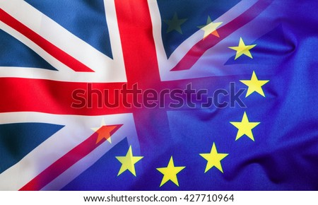 Flags of the United Kingdom and the European Union. UK Flag and EU Flag. British Union Jack flag. Br-Exit. Br Exit. - stock photo