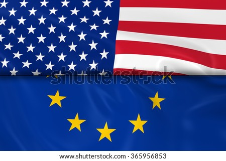 Flags of the USA and the European Union Split in Half - 3D Render of the United States Flag and EU Flag with Silky Texture