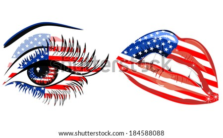 Flags of the USA in sensuality lips and beautiful female eye - stock photo