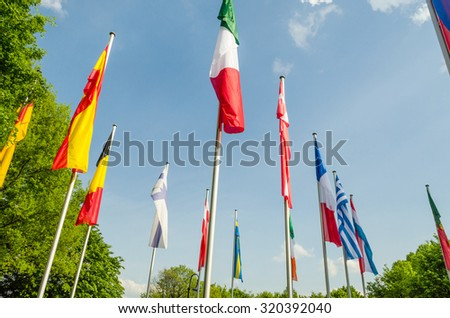 Flags of the world, a sea of �¢??�¢??flags of different nations and organization  - stock photo