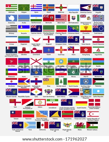 Flags of the world, dependencies, provinces, islands, territories, disputed territories, regions, non recognized by UN, self proclaimed, collection, raster copy