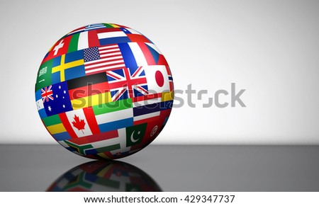 Flags of the world on a globe for international business, school, travel services and global management concept 3d illustration.