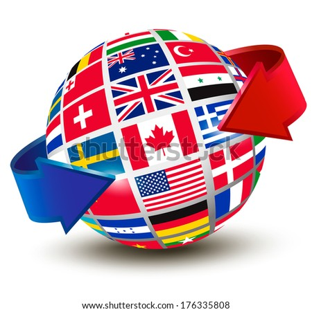 Flags of the world on a globe with an arrow. Raster version - stock photo