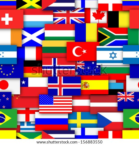 Flags of the world repeating tileable background wallpaper