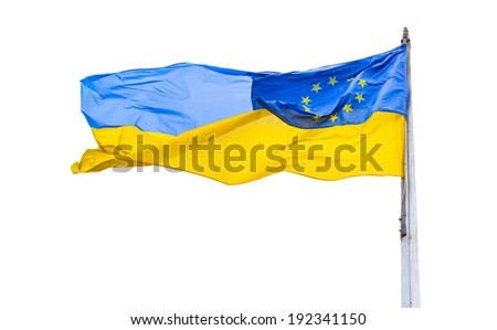 Flags of Ukraine and European Union isolated on the white background