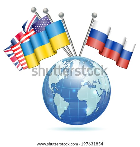 Flags of Ukraine, USA, UK and Russia on Earth, isolated on white background