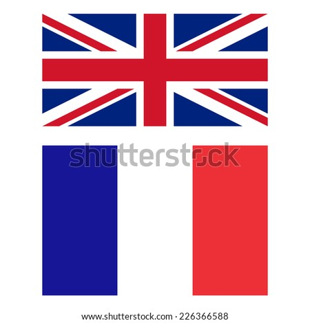 Flags of United Kingdom and France - stock photo