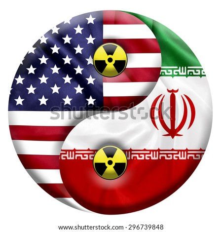 Flags of United States and Iran with Nuclear icon embedded in a Yin and Yang symbol - stock photo